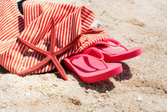 Flip Flops Bag Starfish Sand Beach Holiday Concept Stock Images