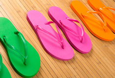 Flip Flops on Bamboo Royalty Free Stock Photo