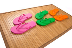 Flip Flops on Bamboo Royalty Free Stock Image