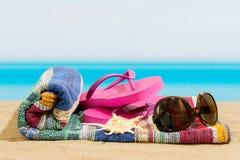 Flip flops on the. Beach royalty free stock photos