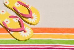 Flip flops at beach Stock Image