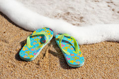 Flip flops at the beach Royalty Free Stock Photo