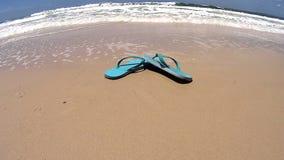 Flip Flops On Beach banque de vidéos