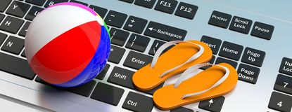 Flip flops and beach ball on computer keyboard. 3d illustration Stock Images