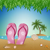 Flip-flops on the beach Royalty Free Stock Images