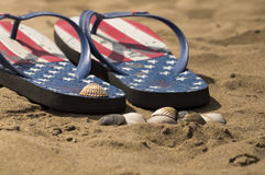 Flip flops on the beach. With shells and sea in the background Stock Image