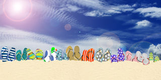 Flip flops, beach. Summer holidays, office shoes colored flip flops, travel Stock Image