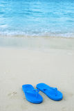 Flip flops on the beach. Summer scene with sea, sand and flip flops stock image