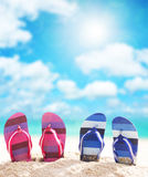 Flip-flops. On the beach in sunny day stock photography
