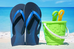Flip Flops and Beach Toys Stock Photo