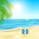 Flip flops on the beach. Tropical background with flip flops on the sandy beach, Sun, sparkling ocean and palms, illustration Royalty Free Stock Photos