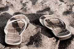 Flip flops on the beach vintage Stock Images