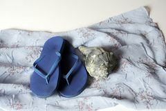Flip Flops at the Beach. Worn pair of blue flip flops and sea shell on blue dress with white background stock photo