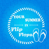 Flip flops  blue  background Royalty Free Stock Photo