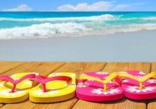 Flip Flops on Boardwalk Royalty Free Stock Photos