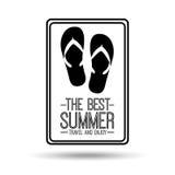Flip flops card best summer travel and enjoy Stock Photo
