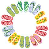 Flip flops circle with copy space. Isolated Flip flops circle with copy space on white background Stock Images