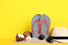 Flip flops with coconuts. And seashells on yellow background stock photo