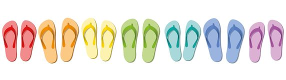 Flip Flops Colored Set Seven Sandals. Flip flops - colored summer slippers, symbolic for group travel, team, friends or family holiday -  vector illustration on Stock Photography