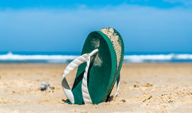 Flip flops. Digged into sand on the beach royalty free stock photography