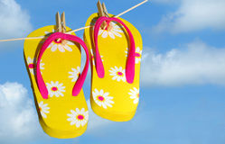 Flip Flops Drying on Line Stock Photography