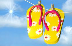 Flip Flops Drying on Line Royalty Free Stock Images