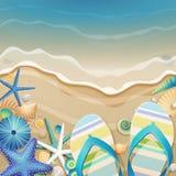 Flip-flops e escudos na praia. ilustração do vetor