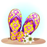 Flip Flops en el ejemplo del vector del verano de la arena libre illustration