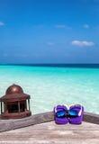 Flip Flops et lunettes de soleil se trouvant sur une jetée Photos stock