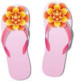 Flip flops with flowers Stock Image