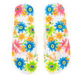 Flip-flops with flowers Stock Photos