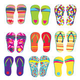 Flip flops funny designs set Stock Image