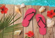 Flip flops and hibiscus flowers on wooden background. Summer holiday vacation concept. View from above Royalty Free Stock Photography