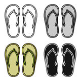 Flip-flops icon in cartoon style isolated on white background. Surfing symbol stock vector illustration. Stock Photography