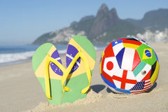 Flip Flops and International Football in Rio Royalty Free Stock Photos