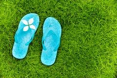 Flip flops on a lawn Stock Photos