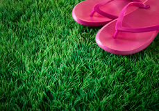 Flip flops on lush grass. Pink flip flops on green lush artificial grass, summer and vacations concept Stock Photo