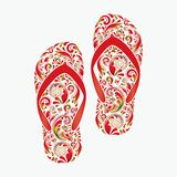 Flip flops, made of the leaf pattern. Royalty Free Stock Photo