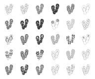 Flip-flops mono, ícones do esboço em coleção ajustada para o projeto A praia cal?a a ilustra??o da Web do estoque do s?mbolo do v ilustração royalty free