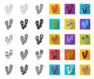 Flip-flops mono, ícones lisos em coleção ajustada para o projeto A praia cal?a a ilustra??o da Web do estoque do s?mbolo do vetor ilustração stock