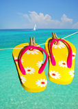 Flip flops at ocean Stock Photos