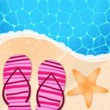 Flip-flops och sjöstjärna vid sjösidan vektor illustrationer