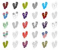 Flip-flops os desenhos animados, ícones do esboço na coleção do grupo para o projeto A praia calça a ilustração da Web do estoque ilustração royalty free