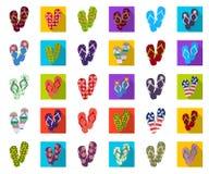 Flip-flops os desenhos animados, ícones lisos na coleção do grupo para o projeto A praia calça a ilustração da Web do estoque do  ilustração stock