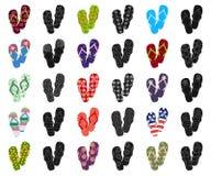 Flip-flops os desenhos animados, ícones pretos na coleção do grupo para o projeto A praia calça a ilustração da Web do estoque do ilustração do vetor