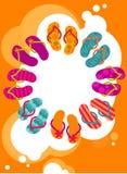 Flip-flops på sommaraffischen vektor illustrationer