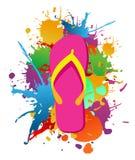 Flip flops paint splash background Stock Image