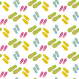 Flip flops pattern. On the white background. Vector illustration Stock Photos