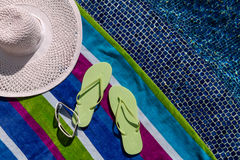 Flip Flops by the Pool Stock Photos
