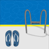 Flip-flops and pool. In summer Stock Photo